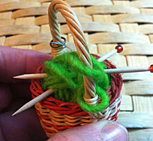 the Basket Case ornament knitting basket 1