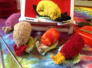 Knitted Snails for Fish and Game volunteers who will count snail and slugs.